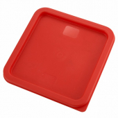 Winco - Food Storage Container Cover, Square Red Plastic, Fits 6/8 qt Containers