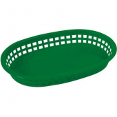 Winco - Basket, Oval Green Plastic, 10.75x7.25x1.5