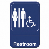 Restroom Accessible Sign, 6x9 Blue Plastic