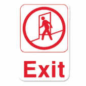 Exit Sign, 6x9 White Plastic with Red Lettering