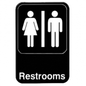 Restroom Sign, 6x9 Black Plastic