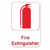 Fire Extinguisher Sign, 6x9 White Plastic with Red Lettering