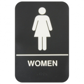 Women Restroom Sign with Braille, 6x9 Black Plastic