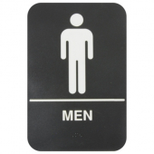 Men Restroom Sign with Braille, 6x9 Black Plastic