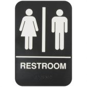 Restroom Sign with Braille, 6x9 Black Plastic