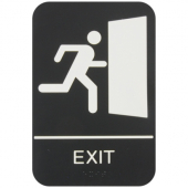 Exit Sign with Braille, 6x9 Black Plastic