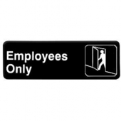 """Employees Only"" Sign, 9x3 Black Plastic"