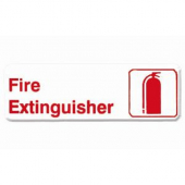 """Fire Extinguisher"" Sign, 9x3 White Plastic with Red Lettering"