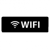 """WIFI"" Sign, 9x3 Black Plastic"