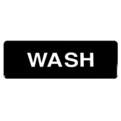 """Wash"" Sign, 9x3 Black Plastic"