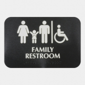 Family Restroom Sign with Braille, 9x6 Black Plastic