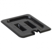 Food Pan Cover, 1/6 Size Slotted Black PC Plastic