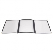 Winco - Menu Cover, 9.5x12.125 Black Tri-Fold Triple Panel