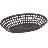Winco - Basket, Oval Black Plastic, 10.25x6.75x2