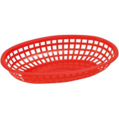 Winco - Basket, Oval Red Plastic, 10.25x6.75x2