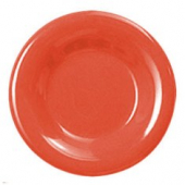 "Plate, 7.875"" Red/Orange Melamine with Wide Rim"