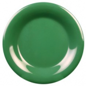 "Plate, 9.25"" Green Melamine with Wide Rim"
