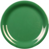 "Plate, 7.25"" Green Melamine with Narrow Rim"