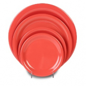 "Plate, 7.25"" Red/Orange Melamine with Narrow Rim"