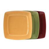 Tuxton - DuraTux Square Plate, 8.125x8.125x1 Assorted Color (Butterscotch, Pistachio, Cranberry) Chi