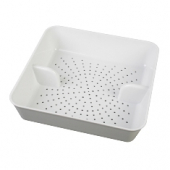 Floor Drain Strainer (Screen), White Plastic, 8.5x8.5x2.25