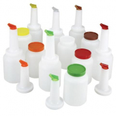 Winco - Multi-Pour Bottle Set, 1 Quart Liquor/Juice Pour, 2 each of 6 Assorted Colors, 12 total