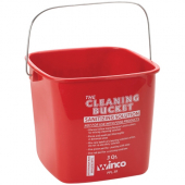 Winco - Cleaning Pail, 3 Quart Red for Sanitizing