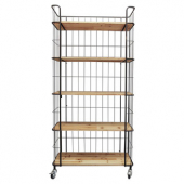 Shelf, 5-Tier Wood and Metal on Casters, 36.5x16x78.75