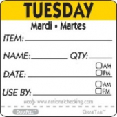 "Label, 2"" Square, ""Tuesday"""