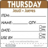 "Label, 2"" Square, ""Thursday"""