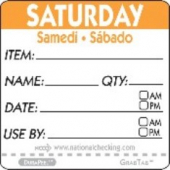 "Label, 2"" Square, ""Saturday"""