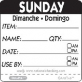 "Label, 2"" Square, ""Sunday"""