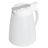 Winco - Syrup Dispenser, 32 oz White Plastic Bottle and Lid