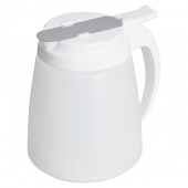 Winco - Syrup Dispenser, 48 oz White Plastic Bottle and Lid