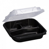 Genpak - ProView Container, 9.25x9.125x3 Black Base with Hinged Clear Lid