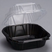 Genpak - ProView Sandwich Food Container, 6x6.25x3 Black Base with Hinged Clear Lid
