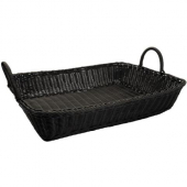 Winco - Basket, Black Rectangular Solid-Cord Poly Woven Basket, 19x14x4
