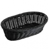 Winco - Basket, Black Oval Solid-Cord Poly Woven Basket, 9x4.5x3
