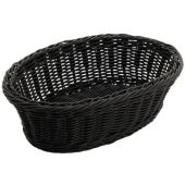 Winco - Basket, Black Oval Solid-Cord Poly Woven Basket, 9.25x6.25x3.25