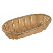 Winco - Basket, Tan Long Oval Poly Woven Basket, 9x4.25x2