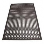 "Winco - Floor Mat, 3'x5' Black Rubber, .5"" Beveled Edge"