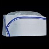 Tissue Paper Overseas Cap, Low Profile with Blue Stripe and Sweatband