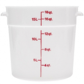 Cambro - Poly Rounds Food Storage Container, 18 Quart Round White Poly Plastic