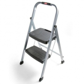 Rubbermaid - Step Stool, Folding Steel Frame with Hand Grip and Plastic Steps, 200 Lb Capacity