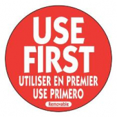 "Label, 'Use First', 2"" Red Circle"
