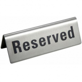 "Winco - Tent Sign, ""Reserved"", 4.75x1.75 Stainless Steel"