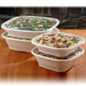 Sabert - Lid for 160-240 oz Square Bowls, Clear Recyclable Plastic