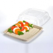 "Sabert - Lid for 14"" Square Platter, Clear Recyclable Plastic"