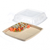 "Sabert - Lid for 16"" Square Platter, Clear Recyclable Plastic"