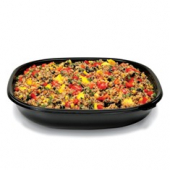 Fresh 'n Clear Catering Bowl, 80 oz. Black PET Plastic
